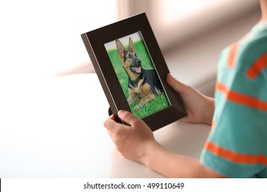 Little boy holding photo frame with picture of dog. Happy memories concept.