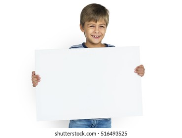 Little Boy Holding Placard Blank Concept