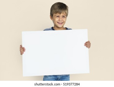 Little Boy Holding Placard Blank Concept