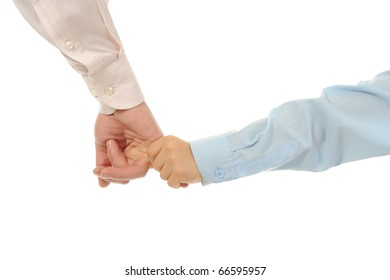 little boy holds his father's hand Isolated on white background