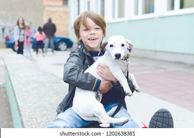 Little boy is hugging his dog, sitting outside, in front of a school.