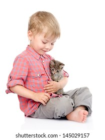 little boy hugging a kitten. isolated on white background