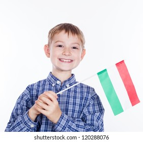 A little boy with Hungarian flag on the white background