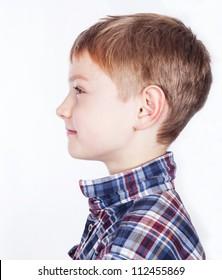 Little boy, isolated on white background.