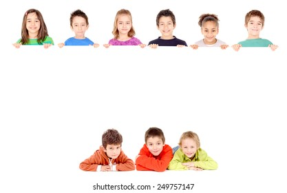 little boy isolated in white