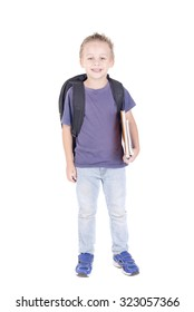 little boy isolated in white holding school books
