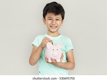 Little Boy Kid Adorable Cute Piggy Bank Saving Portrait Concept