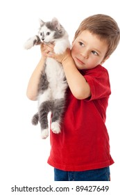 Little boy with kitten in hands, isolated on white