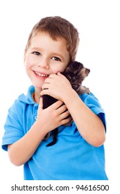 Little boy with kitty on shoulder, isolated on white