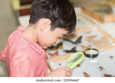 Little boy learning science class with microscope