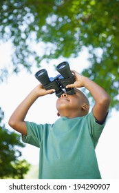 Little boy looking up through binoculars in the park on a sunny day