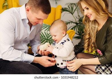 the little boy looks at the chicken in the father's hands and the mom sits next to them in the beautiful room with a yellow chair