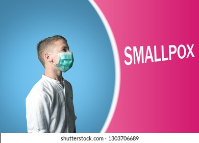 Little boy in a medical mask on a bright background with inscription SMALLPOX.
