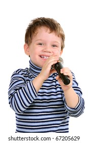 Little boy with a microphone. Isolated over white