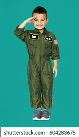 Little Boy in Military Pilot Aviation Costume Studio Portrait