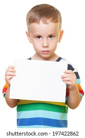 Little boy on isolated white is pleasing for help
