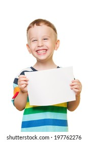 Little boy on isolated white with blank paper