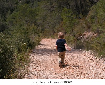 Little boy on a path in a forest