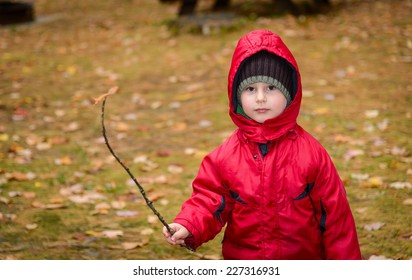 Little boy in the park with stick