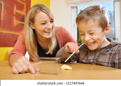 Little boy as a patient makes exercises with speech therapist