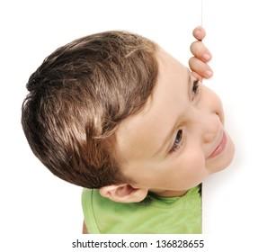 Little boy peeking
