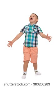Little boy in pink shorts and a summer shirt with short sleeves, gestures with hands and shouting with its mouth wide open - Isolated on white background