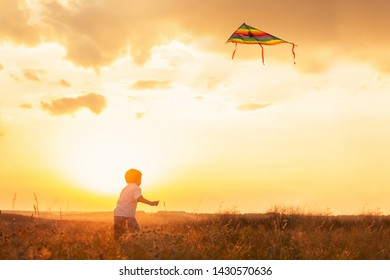 Little boy play with kite outdoor.
