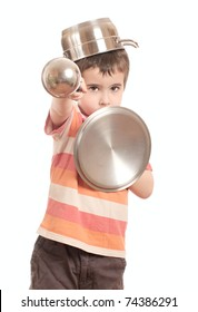 Little boy play knight with kitchen utensil isolated on white