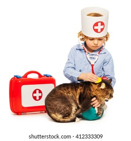 Little boy playing doctor veterinarian with a cat