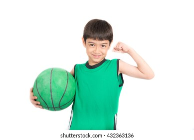 Little boy playing green basketball in green PE uniform sport  on white background