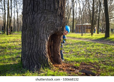 little boy is playing hide and seek outdoors
