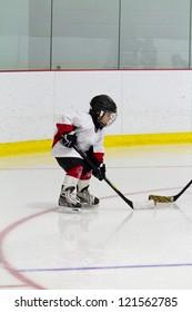 Little boy playing ice hockey