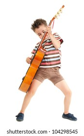 Little boy plays guitar expression isolated on white