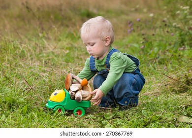 little boy plays a toy car with mushrooms