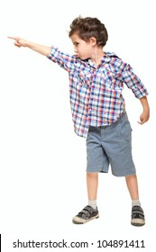 Little boy pointing away isolated on white
