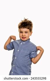 little boy in pose, a symbol of self-esteem, childhood, lightheartedness, cleverness
