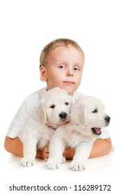 Little boy with a puppy, isolated on white