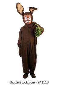 A little boy in a rabbit costume eating a carrot.