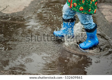 f72272c0c Little Boy Raincoat Rubber Boots Playing Stock Photo (Edit Now ...