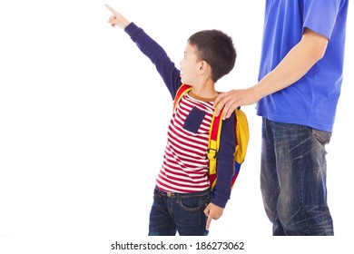 little boy raise hand to point  with father