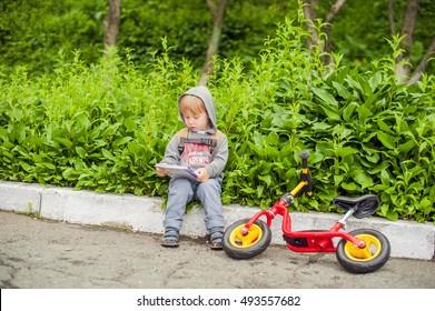 Little boy reading a book under big linden tree, homeschooling concept