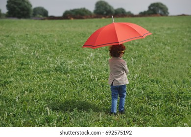 little boy with red umbrella in summer field