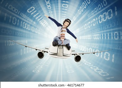 Little boy riding airplane inside a tunnel with binary code. Concept of fast internet connection