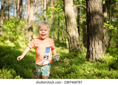 The little boy runs through the forest with a bouquet of forgetfulls in his hand