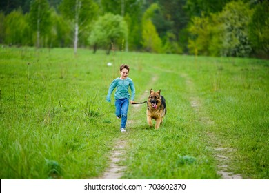The little boy runs through the green meadow with his big dog of the breed German Shepherd