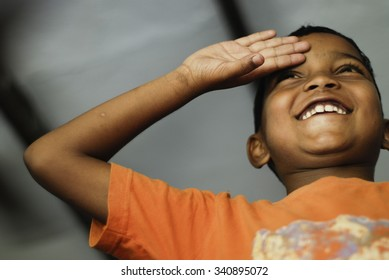 Little boy saluting - NEW DELHI; INDIA - MAY 12; 2015