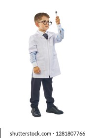 Little boy scientist in eyeglasses and lab coat holding test tube on white background