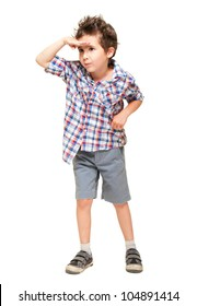 Little boy seeking with visor hand isolated on white