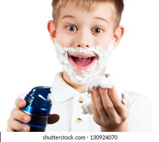 little boy in shaving foam