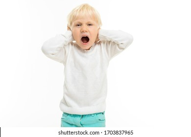 Little boy with short blonde hair, blue eyes screams, picture isolated on white background